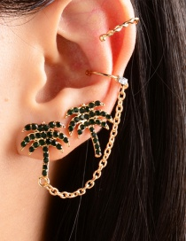 Fashion Green Coconut Chain Alloy Earrings With Diamonds