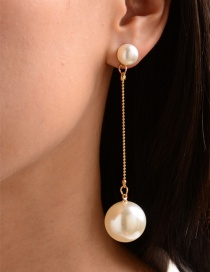 Fashion White Pearl Alloy Chain Long Earrings