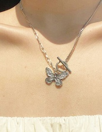 Fashion Silver Butterfly Alloy Ot Buckle Necklace