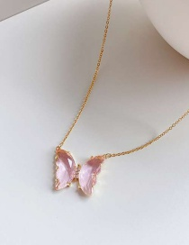Fashion Pink Diamond Butterfly Alloy Necklace