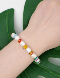 Fashion Color Mixing Natural Freshwater Pearl Glazed Beads Contrast Color Bracelet