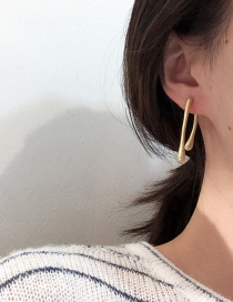 Fashion Golden High And Low Water Pearlescent Alloy Earrings