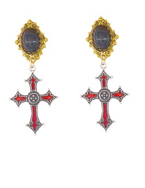Fashion Ancient Gold Cross-shaped Tassel Chain Earrings