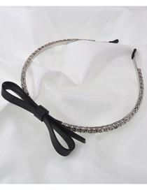 Fashion Black Bowknot Flash Diamond Handmade Thin-edged Headband