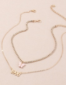 Fashion Pink Multi-layer Necklace With Diamond Chain And Butterfly In Digital Year