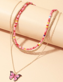 Fashion Color Mixing Handmade Rice Bead Woven Butterfly Alloy Multi-layer Necklace