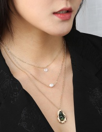 Fashion Golden Pearl Crystal Geometric Alloy Multilayer Necklace