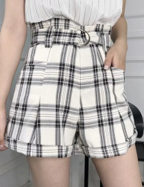 Fashion Black And White Checked Shorts With Belt