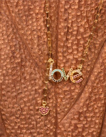 Fashion Golden Love Tassel Necklace With Diamond Letters
