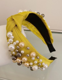Fashion Yellow Large And Small Pearl Cloth Knotted Wide-brimmed Headband