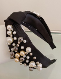 Fashion Black Large And Small Pearl Cloth Knotted Wide-brimmed Headband