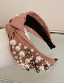 Fashion Pink Large And Small Pearl Cloth Knotted Wide-brimmed Headband