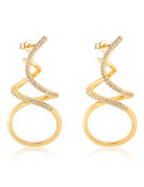 Fashion Golden Gold-plated Zircon Twisted Earrings