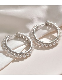 Fashion Large Micro-set Zircon Pearl Round Earrings