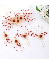 Fashion Red Handmade Beaded Flower Alloy Hairpin Ear Clip Set