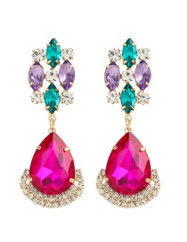 Fashion Color Drop-shaped Alloy Earrings With Diamonds