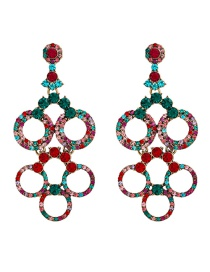 Fashion Color Round Alloy Hollow Multi-layer Earrings With Diamonds