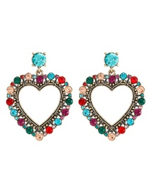 Fashion Color Love Alloy Earrings With Colored Diamonds