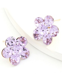 Fashion Purple Alloy Earrings With Flowers