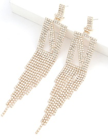 Fashion Silver Claw Chain Alphabet Alloy Diamond Long Fringe Earrings