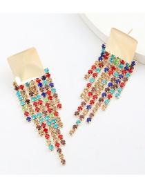 Fashion Color Square Alloy Tassel Earrings With Diamonds