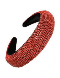 Fashion Red Wide-spread Headband With Diamond Alloy Sponge