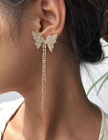 Fashion Golden Tassel Butterfly Claw Chain Alloy Earrings