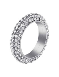 Fashion Round Geometric Ring With Four Rows Of Diamonds