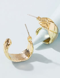 Fashion Golden Curved Diamond Shaped Alloy Earrings