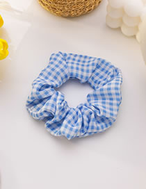 Fashion Light Blue Plaid Floral Checkered Polka Dot Print Large Intestine Circle Hair Rope