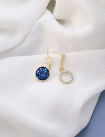 Fashion Blue Starry Sky Round Diamond Alloy Asymmetric Earrings