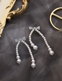 Fashion White Rhinestone Bowknot Pearl Tassel Chain Earrings