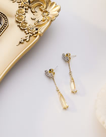 Fashion Golden Diamond Heart Crystal Alloy Earrings