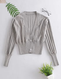 Fashion Gray V-neck Single-breasted Knitted Cardigan