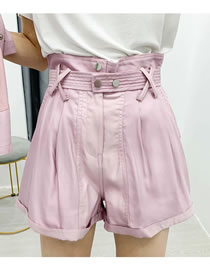 Fashion Pink Solid Color Wide-leg Shorts With Belt
