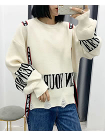 Fashion Beige Loose Pullover Sweater With Streamers And Holes