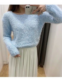 Fashion Blue Mohair Knitted Pullover