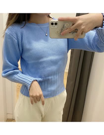Fashion Blue Pit Strip Stitching Pullover Knitted Sweater