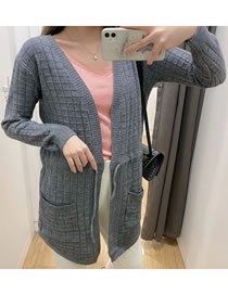 Fashion Gray Check Pocket Tether Knitted Cardigan