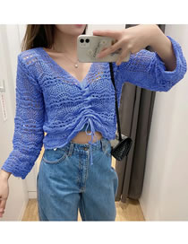 Fashion Blue Knitted Hollow Drawstring Sweater