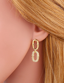 Fashion Gold Color Micro-inlaid Zircon Geometric Shape Copper Plated Real Gold Earrings