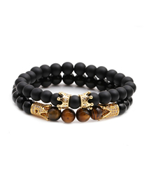 Fashion Gold Color Suit Frosted Bright Stone Tiger Eye Stone Crown Beaded Bracelet Set