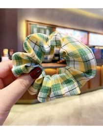 Fashion Yellow-green Grid [large Intestine Ring] Lattice Bowknot Large Intestine Ring Alloy Fabric Hair Rope Hairpin