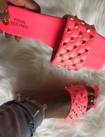 Fashion Red Rivet Flat Sandals And Slippers With Diamond Pattern