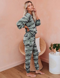 Fashion Camouflage Round Neck Long Sleeve Tie-dye Pajamas Two-piece Suit