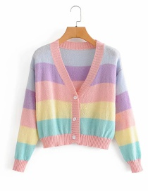 Fashion Color Striped Contrast Single-breasted Knitted Cardigan