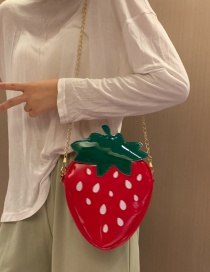 Fashion Strawberry Red Pineapple Strawberry Contrast Chain One Shoulder Crossbody Bag