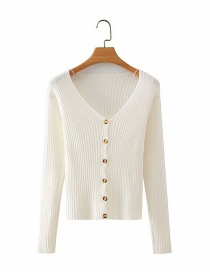Fashion White Button Cardigan V-neck Sweater Knit