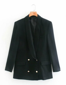 Fashion Black Double-breasted Blazer With Dress Collar