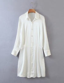 Fashion White Forged Face Shirt Single Breasted Dress